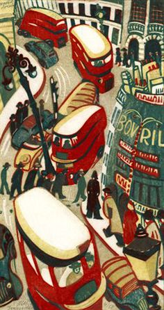 Lill Tschudi, London Buses, 1949, linocut. Printed from 4 blocks in Yellow Ochre; Red; Cobalt Blue; Beige.
