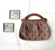 1940s floral tapestry purse/knitting bag with wooden handle