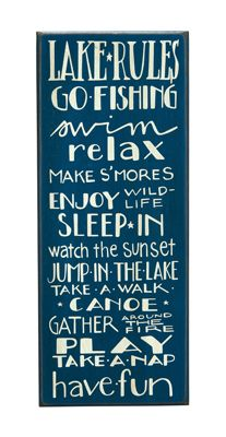 Primitives by Kathy Blue 'Lake Rules' Box Sign Lake House Signs, Lake Signs, House Rules, Beach Signs, Lake Rules, Framed Quotes, Lake Cabins, Decorative Signs, Box Signs