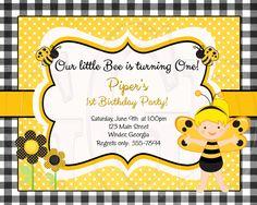 Bumblebee Birthday or Shower Invitation -Digital File by graciegirldesigns77 on Etsy