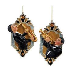 1 Set 2 Assorted Deco & Diamonds Jazz Musician Ornaments