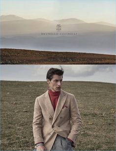 Jonas Mason dons a double-breasted coat for Brunello Cucinelli's fall-winter 2017 campaign.