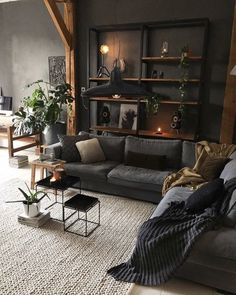 Dark Living Rooms, Boho Living Room, Home And Living, Living Room Decor, Living Spaces, Dark Rooms, Small Living, Masculine Living Rooms, Industrial Living Rooms
