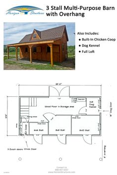 Barn with overhang. Includes 3 stalls, a built-in chicken coop and dog kennel. Full loft with dormer. Pine board and batten siding. Pine tongue and groove interior. Love the chicken coop in the barn idea! Backyard Chicken Coops, Chickens Backyard, Canis, Barn Layout, Horse Farm Layout, Chicken Barn, Chicken Dog, Horse Barn Plans, Goat Barn