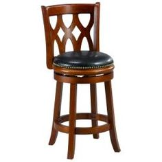 @Overstock - Add a touch of Valencia style to your kitchen with this counter-height stool. This counter stool features a 360-degree swivel seat and individually hand-applied Genuine Germany brass nailhead trim.  http://www.overstock.com/Home-Garden/Valencia-Cherry-Triple-Crossback-24-inch-Counter-Stool/5577297/product.html?CID=214117 $89.99