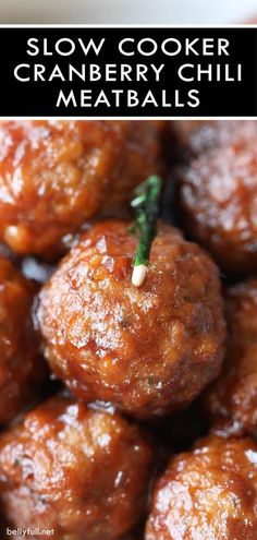 Slow Cooker Cranberry Chili Meatballs are tangy, a little spicy, and absolutely delicious! Perfect appetizer for a crowd or serve over mashed potatoes for a complete meal. #cranberrymeatballs #meatballs #cocktailmeatballs #slowcookermeatballs #crockpotmeatballs Cranberry Meatballs, Cocktail Meatballs, Slow Cooker Recipes, Crockpot Recipes, Cooking Recipes, Slow Cooker Chili, Crockpot Dishes, Meal Recipes, Drink Recipes
