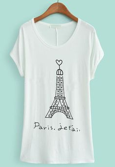 White Batwing Short Sleeve Tower Print T-Shirt