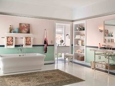 We love this 1920's period style bath- feminine and lovely.