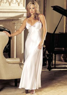 Shirley of Hollywood Charmeuse & Lace Long Gown £44.99 Has lace trimmed cups, low back with criss cross tie shoulder straps that tie down to a flowing train of scalloped lace and charmeuse.  www.townoftoys.co.uk