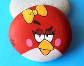 Hand Painted Stone Angry Bird !