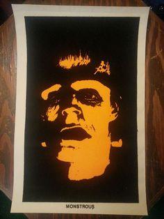 Vintage Frankenstein Black Light Poster 17x11 Velvet Monster Halloween