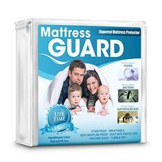 Mattress Guard 100% Waterproof Hypoallergenic Bed Bugs Proof Premium Mattress Protector - Lifetime Warranty - Queen Size