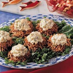 #easter #food...Create these cute chow mein noodle nests with just three ingredients, then fill them with mounds of a nicely seasoned egg salad for tasty results.