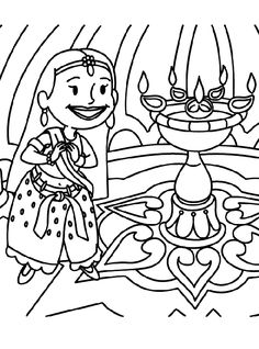 Diwali Coloring Sheets For Kids sketch template Happy Diwali