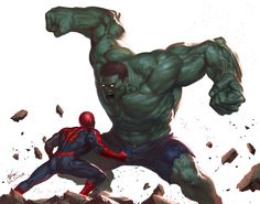 Hulk vs Spidey, In-Hyuk Lee on ArtStation at https://www.artstation.com/artwork/hulk-vs-spidey