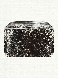 Prairie Leather Ottoman In Brindle Speckled
