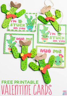 These Free Printable Cactus Valentine Cards are so adorable! Pair them with these super cute Cactus Cowboy for the perfect Valentine's Day Card for kids! via @familyfooda0336