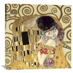 "Global Gallery The Kiss by Gustav Klimt Painting Print on Wrapped Canvas Size: 24"" H x 24"" W x 1.5"" D"