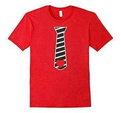 Amazon.com: Valentines Day Gift for Men and Boys Red Hearts Tie T-Shirt: Clothing
