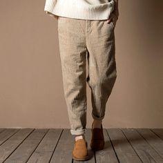 Cuffed Pants, Corduroy Pants, Trouser Pants, Cropped Pants, Casual Pants, Harem Pants, Jeans Leggings, Style Japonais, Retro Stil