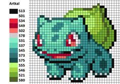 I worked with this pattern to make my Bulbasaur. On the left you can see the matching Artkal colors. Hama Beads Pokemon, Perler Bead Pokemon Patterns, Hama Beads Patterns, Beading Patterns, Pokemon Nintendo, Cross Stitch Embroidery, Cross Stitch Patterns, Stitch Games, Pokemon Cross Stitch
