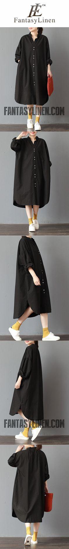 FANTASYLINEN PLUS SIZE STAND COLLAR DRESS, COTTON LOOSE BLACK DRESS Q3015