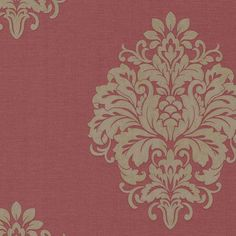 A red damask wallpaper is posh and glamorous. This designer print features a gorgeous raspberry linen beneath a large scale shimmering damask motif. Today's damask wallpaper draws on regal Victorian fabric and is synonymous with luxury and sophistica Embossed Wallpaper, Damask Wallpaper, Wallpaper Samples, Eclectic Wallpaper, Charcoal Wallpaper, Victorian Wallpaper, Victorian Fabric, Damask Decor, Red Home Decor