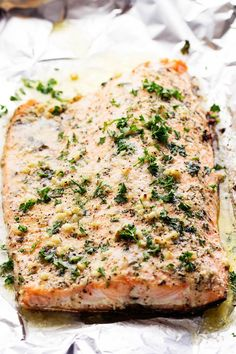 Salmon that is baked in foil and brushed in a Parmesan Garlic Herb Marinade. It seals in the amazing flavor and cooks the salmon to tender and flaky perfection! A couple of weeks ago I had the honor of flying to Washington DC with my hubby and speaking to the National Salmon Council. Now, you …