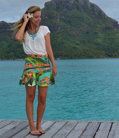 {Saia Tahiti} mini saia com estampa tropical da coleção Resort 2015
