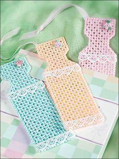 Plastic Canvas - Children's Corner - Gifts - Prom Dress Bookmarks - #FP00533