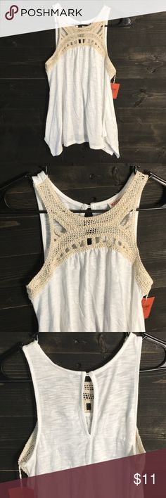 White tank with ivory crochet top White tank top with ivory crochet top, and cutout back.  50% Polyester, 50% Rayon Mossimo Supply Co Tops Tank Tops