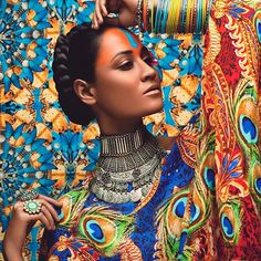 INDIA: FASHION: KUNDALINI ARTS This is meant to be a post about fashion, but credit goes to all parties involved in creating these beautiful shots, from Philip Shadbolt and Mandala Bob as designers. Africa Fashion, Foto Fashion, Asian Fashion, Spiritual Names, Costume Africain, Indian Bridal Fashion, Poses, Divine Feminine, Hippie Outfits