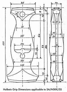 Blueprint to the grips of 3 types of political German daggers: SA, SS and NSKK Knife Handle Making, Knife Making Tools, Knife Holster, Dagger Knife, Cool Knives, Knives And Swords, Knife Drawing, Knife Template, Blacksmithing Knives