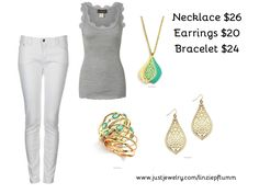 Welcome Monday! Try on this little outfit with the perfect jewelry to compliment it! $70 #sweet #simple #springtime BUY HER NOW www.justjewelry.com/linziepflumm