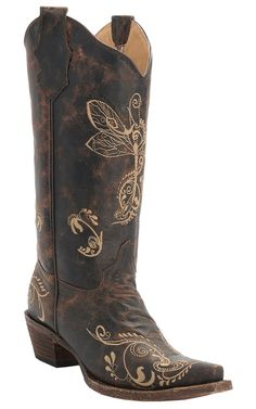 Corral® Circle G™ Women's Distressed Brown w/Bone Dragonfly Embroidered Snip Toe Western Boots | Cavender's