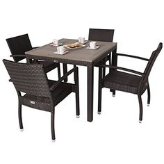 Apollo Rattan 4 Seater Outdoor Dining Set with Plaswood Top - Square Rattan Garden Table and 4 Chairs