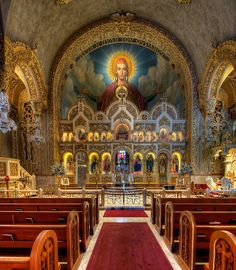 You gotta admit.Greek cathedrals are pretty damn impressive St. Sophia Greek Orthodox Cathedral Los Angeles, CA Baroque Architecture, Cathedral Architecture, Sacred Architecture, Religious Architecture, Church Interior, Cathedral Church, Fantasy Places, Chapelle, Orthodox Icons