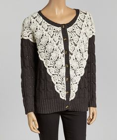 Loving this Basil & Lola Gray & Ivory Lace Cable-Knit Cardigan - Women on #zulily! #zulilyfinds