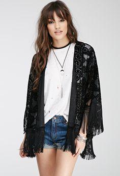 Kimono mit Ausbrenner-Muster - Pullover & Strickjacken - 2000117740 - Forever 21 EU