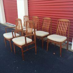 Image of Danish Modern Style Teak Dining Chairs - Set of 6