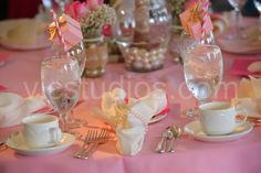 Pretty table settings at a Pink Bridal Shower #bridalshower #pinktable