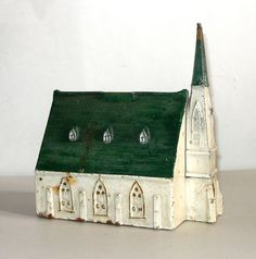 "Rare Vintage Cast Iron Church Bank,  8"" Tall x 8"" Long,  Enameled White with Green Roof"