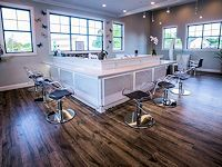 Heaven Salon custom Beauty Color Bar custom manufactured & designed with Acrylic Styling Chairs by Salon Interiors & Cindarella Paris