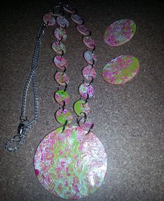 OOAK Mokume Gane Pink Green and White Necklace by NaturalJaurney, $12.00