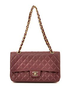 Chanel Burgundy Quilted Caviar Leather Medium Double Flap Bag