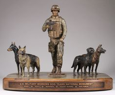 A model of the sculptures for the U.S. Military Working Dog Teams National Monument, to be placed at Lackland Air Force Base in Texas John Burnam Monument Foundation