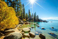 """Secret Cove in Autumn - Photograph of fall foliage along the shore at Secret Cove, Lake Tahoe. Sand Harbor Lake Tahoe, Lake Tahoe Vacation, Lake Pictures, Beautiful Images, Landscape Paintings, Shots, River, Autumn, Fall"