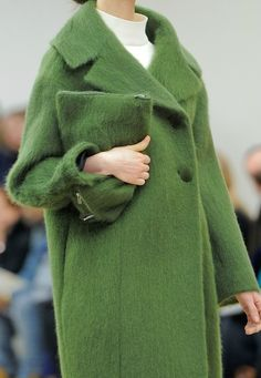 green #coat x green #clutch :: Fall 2013 collection by #Celine
