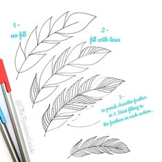 Drawing feathers with pencil and fineliner - . - Draw feathers with pencil and fineliner – - Doodle Drawings, Easy Drawings, Doodle Art, How To Doodle, Doodle Lettering, Hand Lettering, Feather Drawing, Feather Sketch, Tattoo Feather