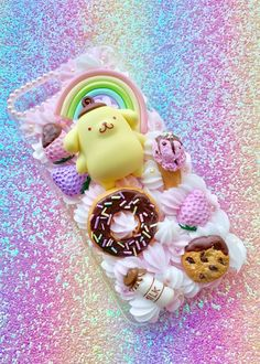 Image of iPhone 7 Plus Pom Pom Purin donut case Diy Resin Phone Case, Phone Cases Marble, Sparkly Phone Cases, Girly Phone Cases, Kawaii Phone Case, Decoden Phone Case, Cute Polymer Clay, Cute Clay, Free Kids Coloring Pages